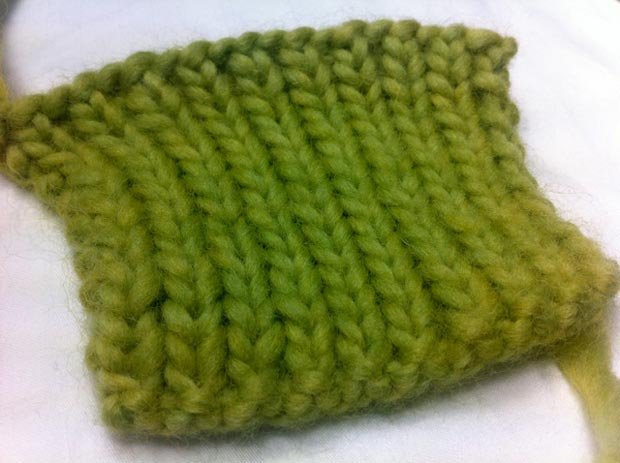 Example of the 1x1 Rib Stitch