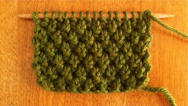 Knitting Decrease Moss Stitch : Double Moss Stitch :: Knitting Stitch #31 :: New Stitch A Day