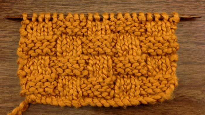Example of the basket weave stitch (RS)