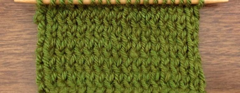 Example of twisted stockinette stitch with the purl rows purled through the back loop