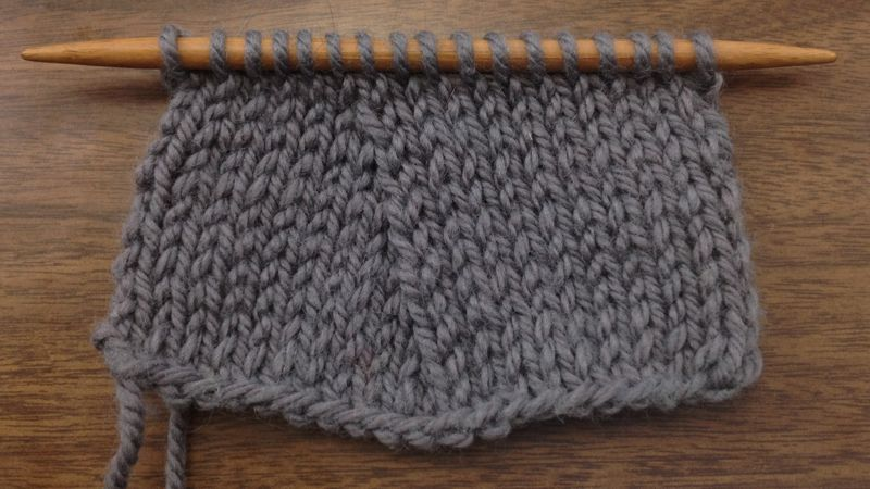 Example of the Slip Slip Purl Through the Back Loop Decrease (SSP TBL) on the knit side