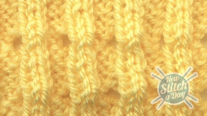 Example of the Bluebell Rib Stitch close up wrong side