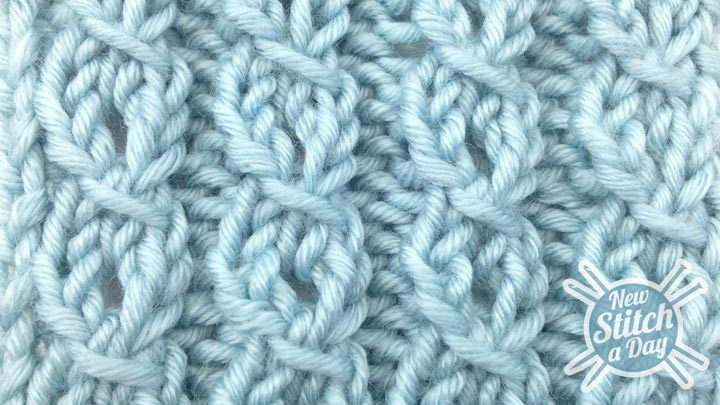 How to Knit the Eyelet Mock Cable Ribbing Stitch right side