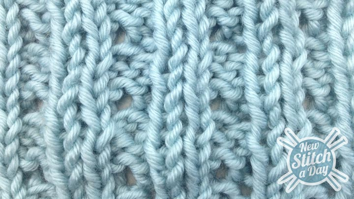 Example of the Eyelet Mock Cable Ribbing Stitch wrong side