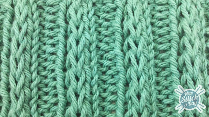 The Fancy Slip Stitch Rib Pattern :: Knitting Stitch #84