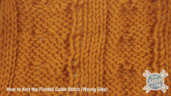 Example of the Fishtail Cable Stitch Wrong Side