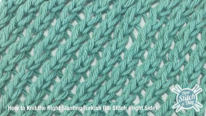 Example of the Right Slanting Turkish Rib Stitch Right Side
