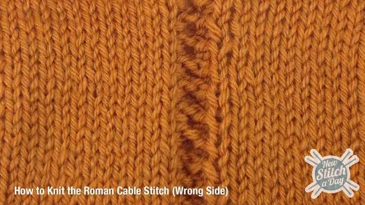 Roman Cable Stitch Wrong Side