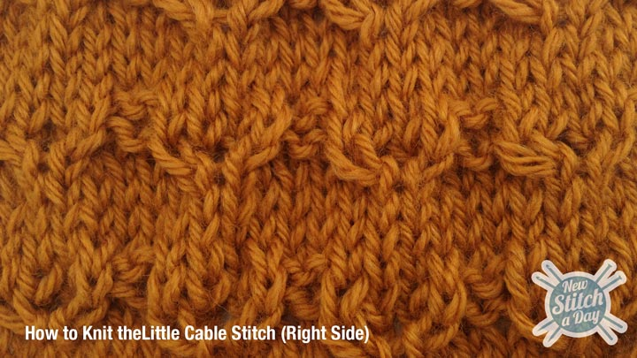 Example of How to Knit the Little Cable Stitch right side