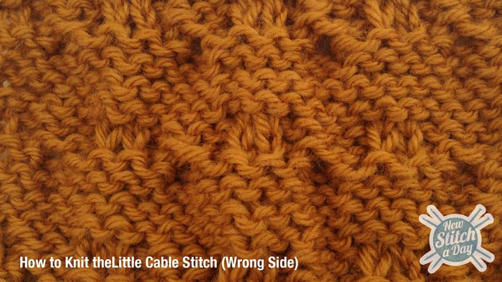 Example of How to Knit the Little Cable Stitch wrong side