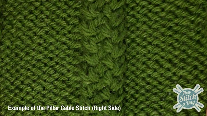 Example of the Pillar Cable Stitch Right Side