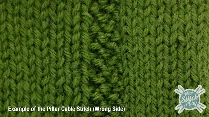 Example of the Pillar Cable Stitch Wrong Side