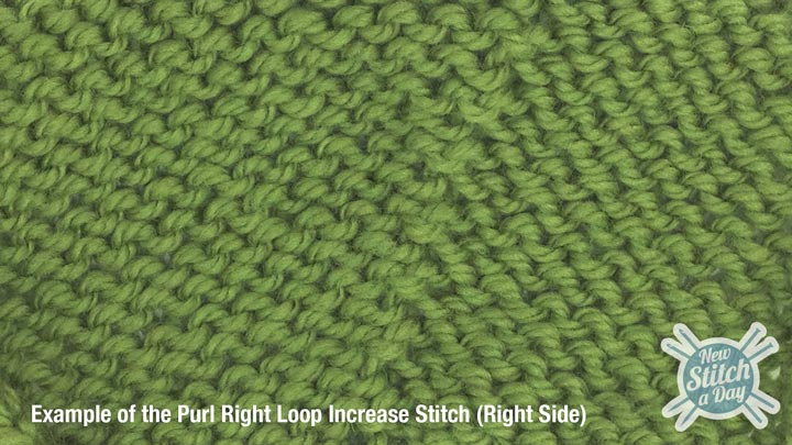 Example of the Purl Right Loop Increase (Right Side)
