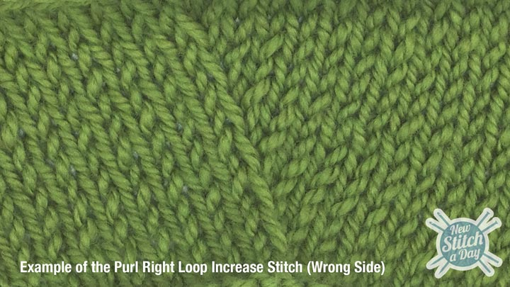 Example of the Purl Right Loop Increase (Wrong Side)