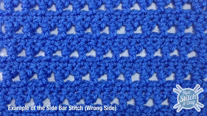 Example of the Side Bar Stitch Wrong Side