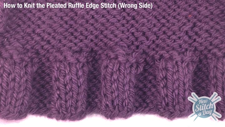 Example of the Pleated Ruffle Edge Stitch Wrong Side