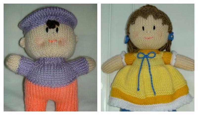 Little Boy and Girl Dolls knitted by John Asfour