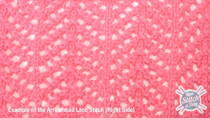 Example of the Arrowhead Lace Stitch Right Side