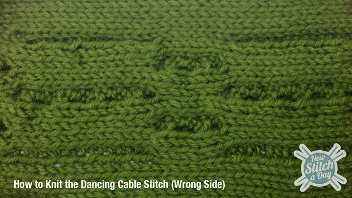 Example of the Dancing Cable Stitch Wrong Side