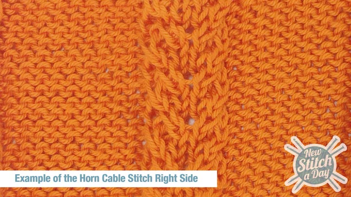 Example of the Horn Cable Stitch Right Side