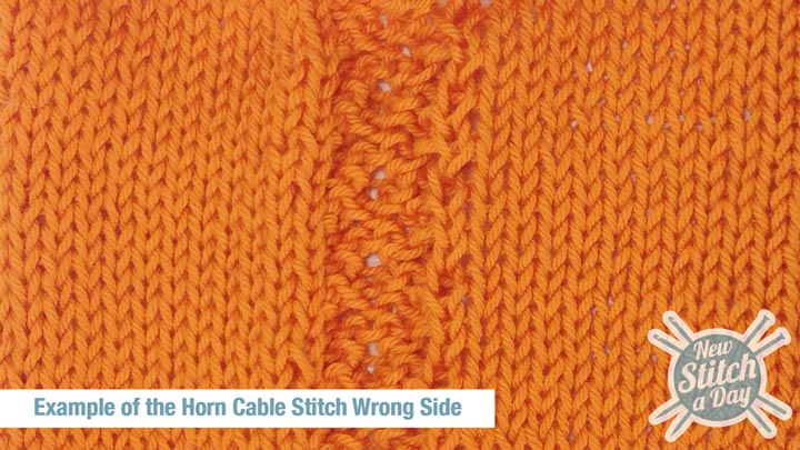 Example of the Horn Cable Stitch Wrong Side