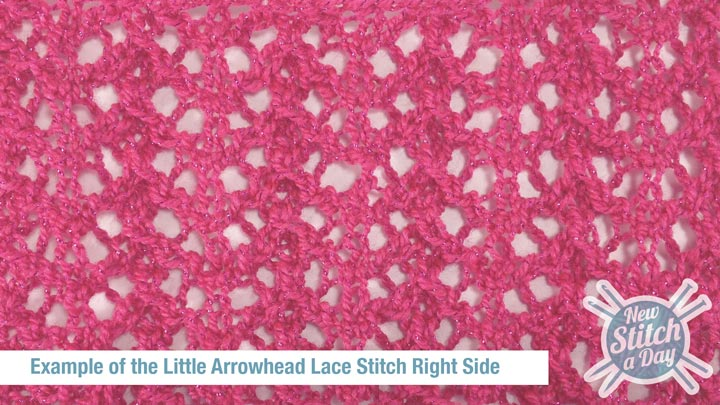 Example of the Little Arrowhead Lace Stitch Right Side