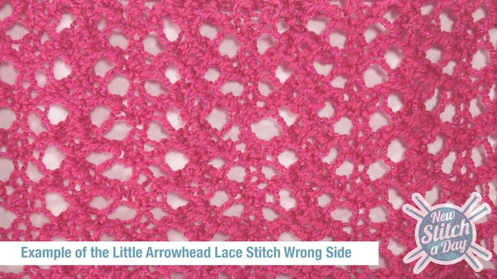 Example of the Little Arrowhead Lace Stitch Wrong Side