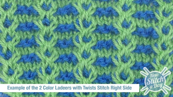 Color Knitting Patterns : The 2 Color Ladders with Twists Stitch :: Knitting Stitch #129