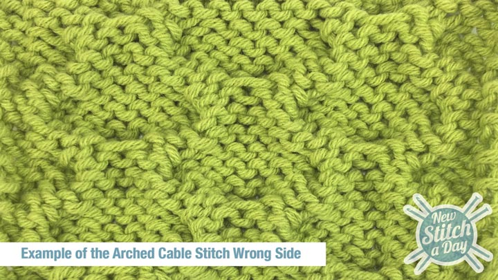 Example of the Arched Cable Stitch Wrong Side