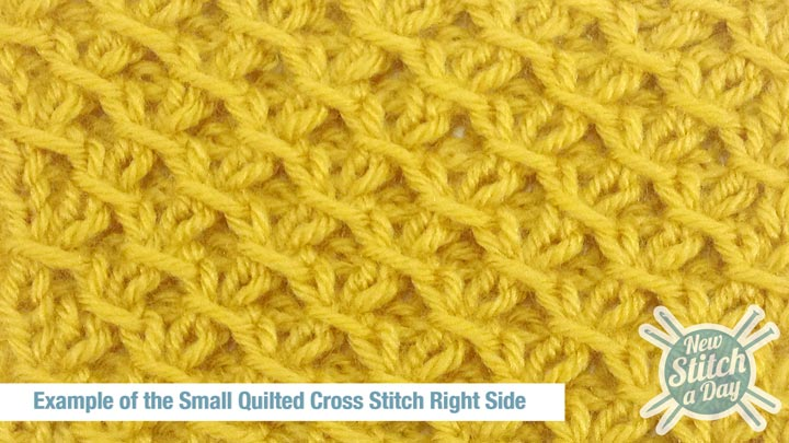 The Small Quilted Cross Stitch :: Knitting Stitch #132 :: New Stitch A Day