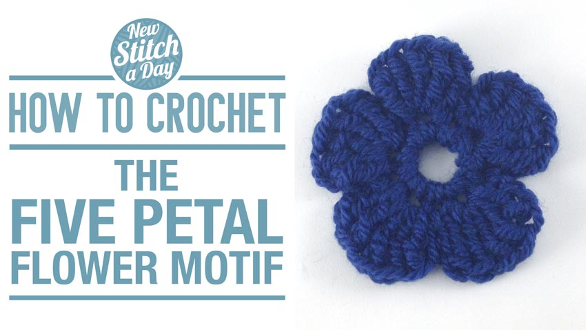 How to Crochet the Five Petal Flower Motif
