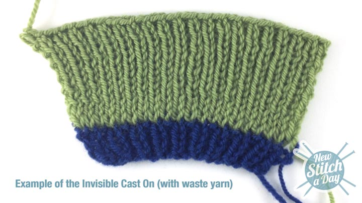 Example of the Invisible Cast On with waste yarn