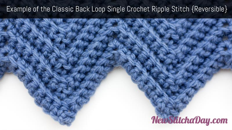 ... Classic Back Loop Single Crochet Ripple Stitch :: Crochet Stitch #73