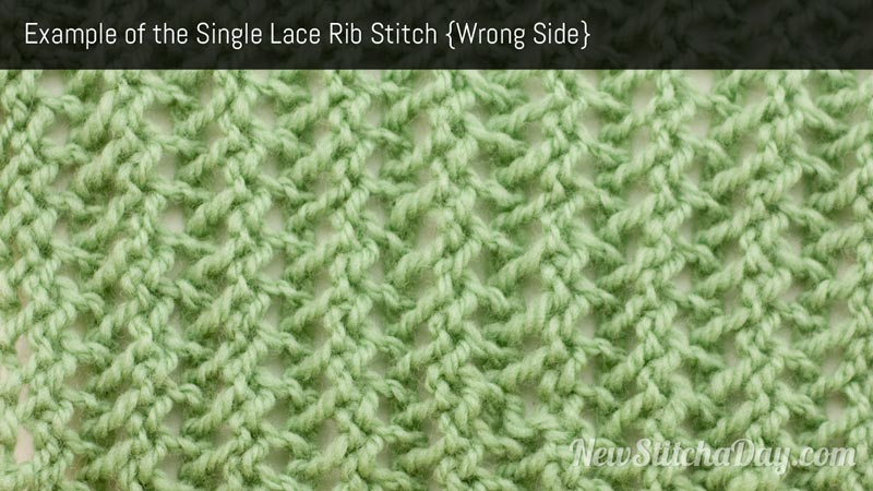 Example of the Single Rib Stitch Wrong Side