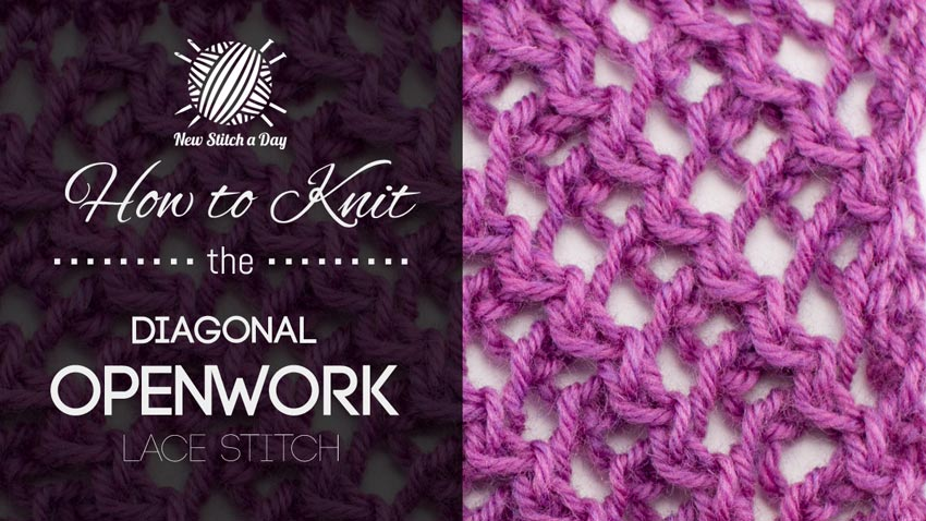 Openwork Lace Knitting Pattern : The Diagonal Openwork Lace Stitch :: Knitting Stitch #189 ...