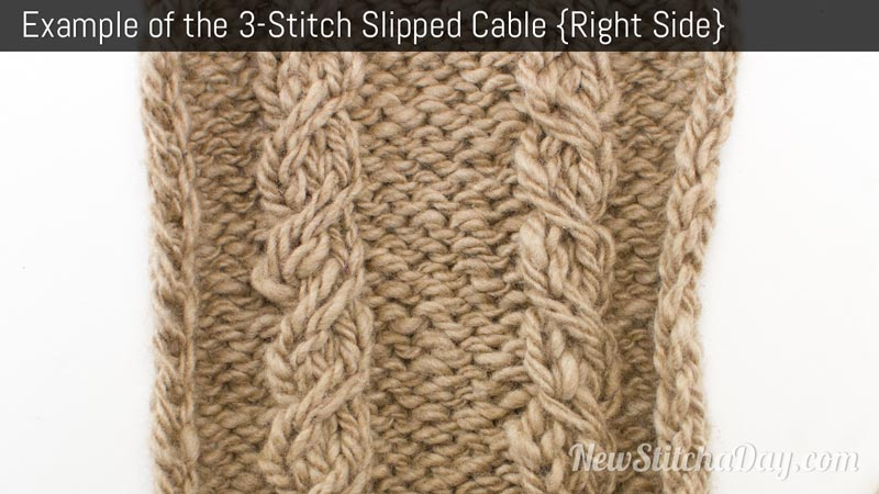 The Three Stitch Slipped Cable :: Knitting Stitch #192 :: New Stitch A Day