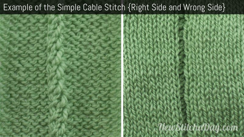 Knitting Stitch Of The Day : The Simple Cable Stitch :: Knitting Stitch #184 :: New Stitch A Day