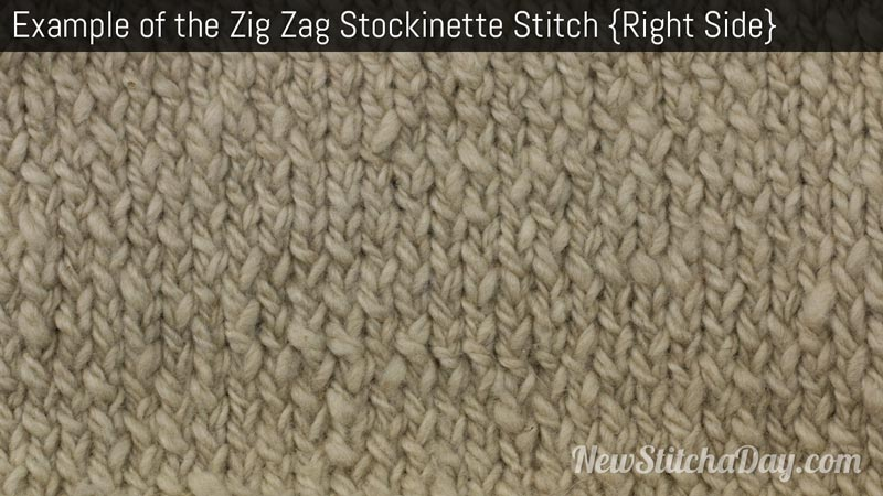 Example of the Zig Zag Stockinette Stitch Right Side