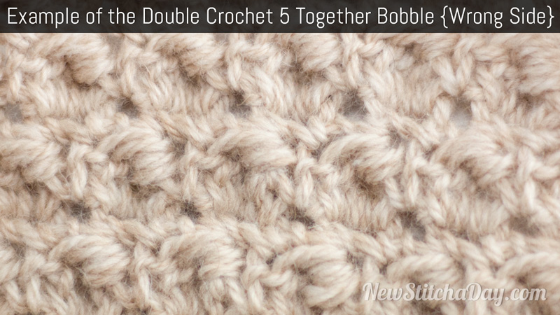 Crochet Stitches Ws : Example of the Double Crochet 5 Together Bobble Wrong Side