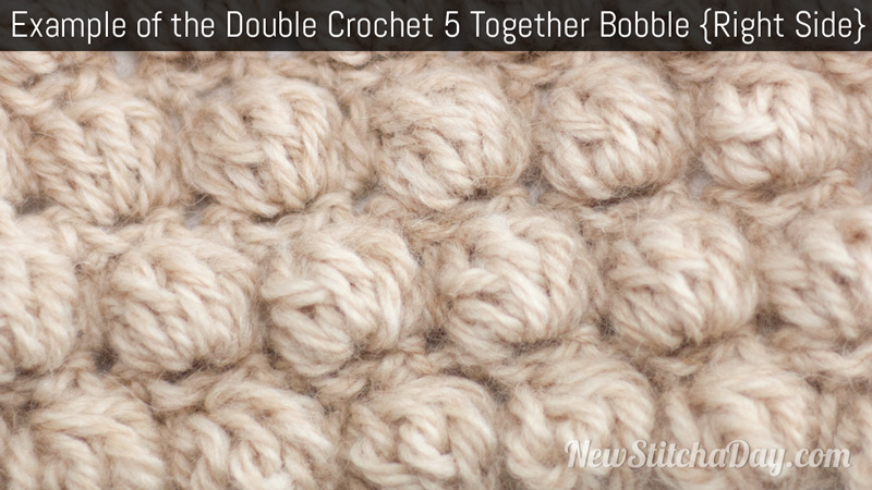 The Double Crochet 5 Together Bobble :: Crochet Stitch #104