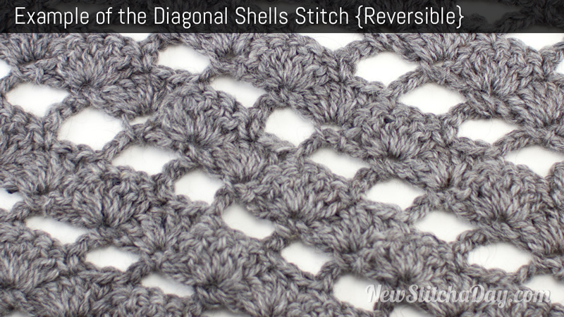 Example of the Diagonal Shells Stitch