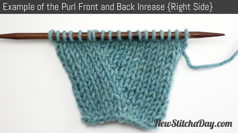 How to Knit the Purl Front and Back Increase NEW STITCH A DAY