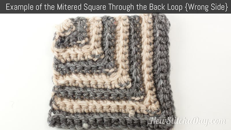 Example of the Mitered Square Through the Back Loop Wrong Side