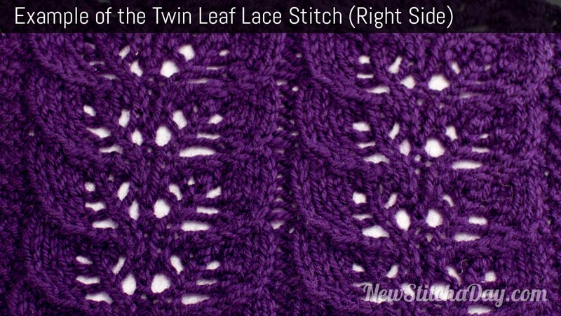 Knitting Stitches Examples : The Twin Leaf Lace Stitch :: Knitting Stitch #215 NEW STITCH A DAY