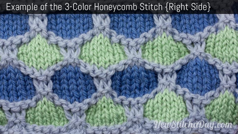 Example of the 3 Color Honeycomb Stitch. (Right Side)