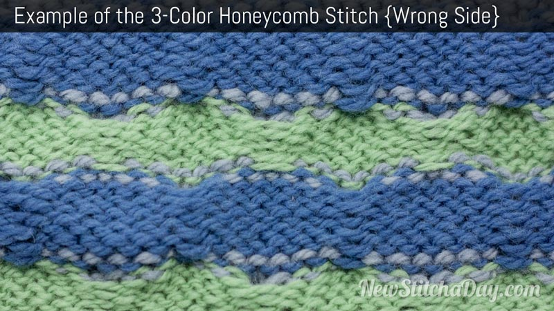 Example of the 3 Color Honeycomb Stitch. (Wrong Side)