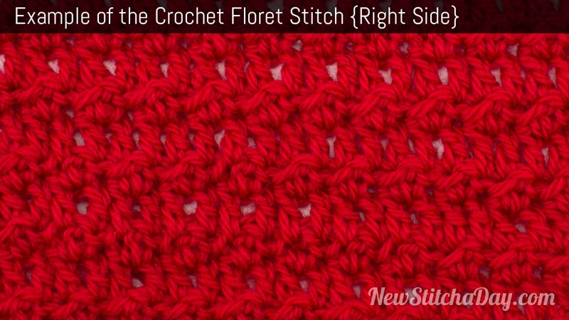 Crochet Stitches Rs : Example of the Floret Stitch Right Side - (Click for Larger)