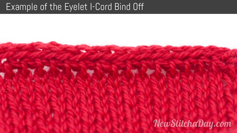 Example of the Eyelet I-Cord Bind Off