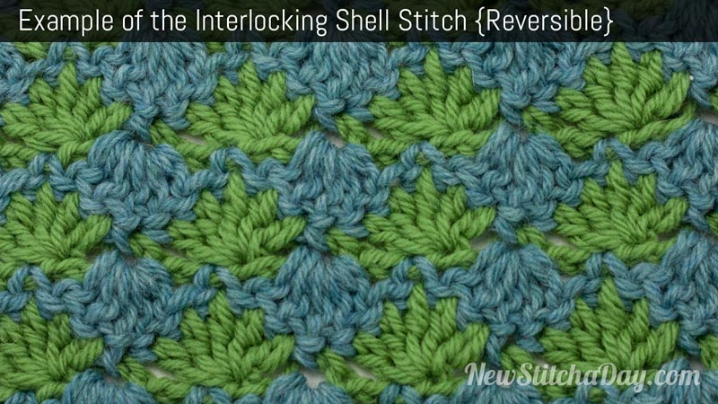 Example of the Interlocking Shells Stitch. (Reversible)