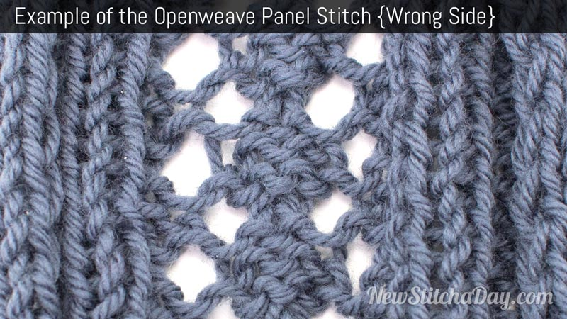 Example of the Openweave Panel Stitch Wrong Side